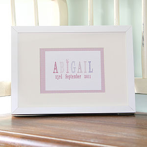 Personalised Baby Girl Name Canvas Print - prints & art