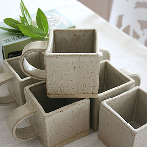 Square Stoneware Mug - crockery & chinaware