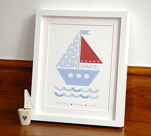 'Sailing Boat' Baby Boy Personalised Print - gifts for babies