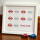 'Counting Cars' Baby Boy Personalised Print
