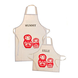 Printed Personalised Apron Set - kitchen linen
