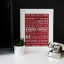 Personalised Family Values Print Radicchio