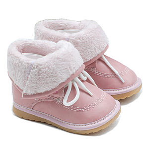Unisex Leather Winter Fur Lined Squeaky Boots - for children