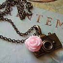 Camera And Rose Charm Necklace