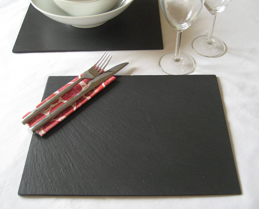 Table placemats slate leather glass placemats table for Glass table placemats
