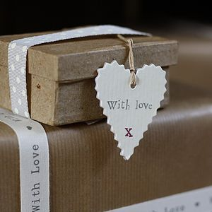 'With Love' Gift Tag - ribbon & wrap