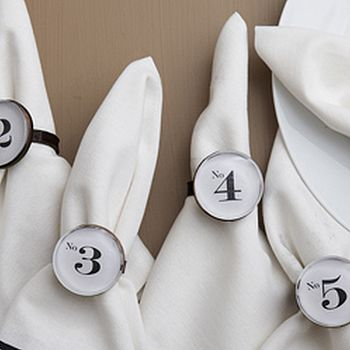 Set Of Six Numerology Napkin Rings