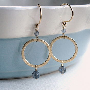 Labradorite and Gold Vermeil Circular Earrings