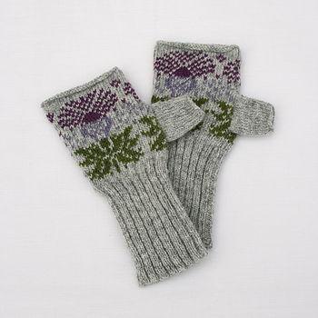 Fairisle Thistle Knitted Hand Warmers