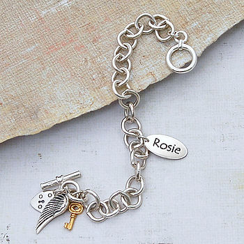 Personalised Silver Name Charm Bracelet