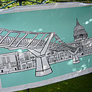 London Tea Towel 'Millennium Bridge' Aqua