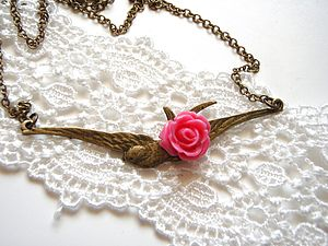 Soaring Bird Necklace With Rose - necklaces & pendants