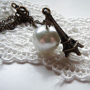 Moon In Paris Eiffel Tower Pearl Necklace - necklaces