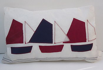 Three Little Gaff Boats Cushion