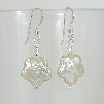 White Fresh Water Pearl Flower Earrings