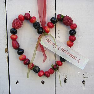 Personalised Christmas Winter Berries Wreath Hanger - hanging decorations