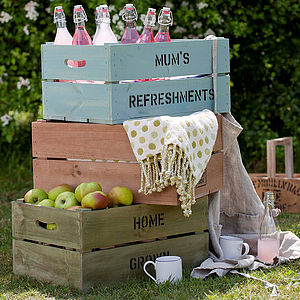 Personalised Wooden Storage Crate - storage & planters