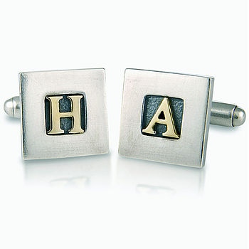 Personalised Silver And 9ct Gold Cufflinks