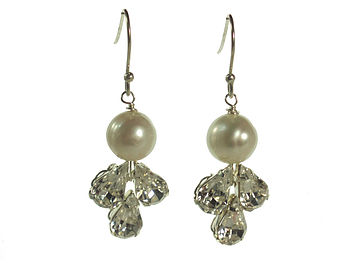 Pearl & Crystal Deco Style Earrings