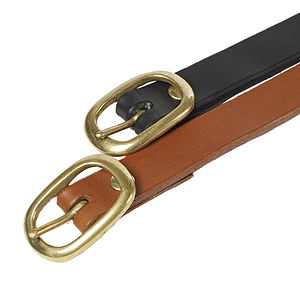 Handmade Black Leather Skinny Belt