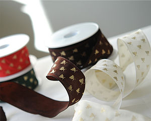 Wire Edged Bee Emblem Ribbon 25 Metre Roll
