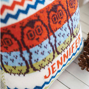 Chevron Owl Knitted Cushion - cushions