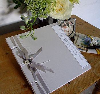 Personalised Guest Book With Vintage Buttons