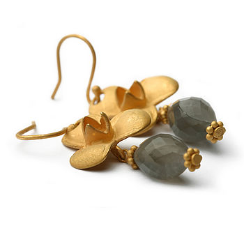 Clover Moonstone Vermeil Earrings