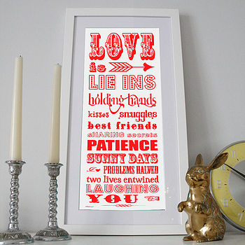 Love Is… Words Slim Art Print