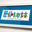 Personalised Animal Name Print Blue Mount