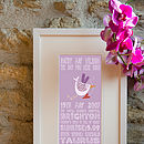 Personalised 'The Day You Were Born' Print Lilac Pink Colourway