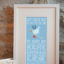 Personalised 'The Day You Were Born' Print Blue Colourway
