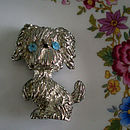 Vintage Poodle Brooch With Blue Eyes