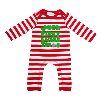 'First Christmas' Personalised Stripe Romper