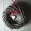 Willow Ring Wreath With Silver Heart