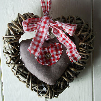 Wicker Heart With Padded Heart Hanger