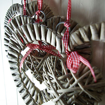Set Of Three Wicker Hearts With Hanger