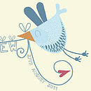 Personalised Love Bird Loveline Print Blue Bird Close-Up