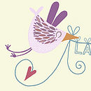 Personalised Love Bird Loveline Print Pink Bird Close-Up