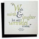 Shakespeare Quote Letterpress Greeting Card
