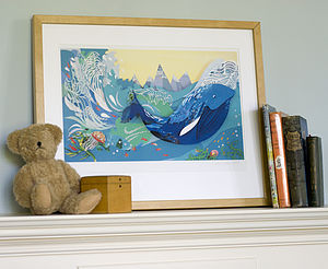Whale In The Waves Print - pictures & prints for children