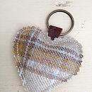 Tartan Heart Keyring - Silver Birch