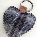 Tartan Heart Keyring - Pebble