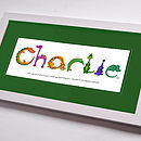 Personalised Dinosaur Name Print Green Mount