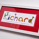 Personalised Dinosaur Name Print Red Mount