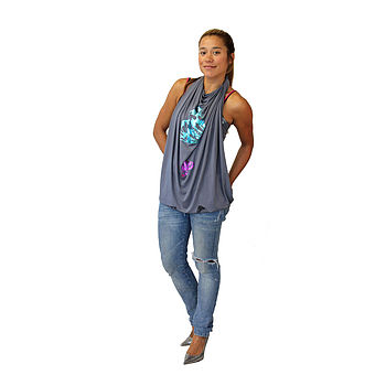 Charcoal Butterfly Ori Fabric tied into Grecian Goddess Top