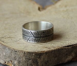 Handmade Silver Leaf Imprint Band Ring - rings
