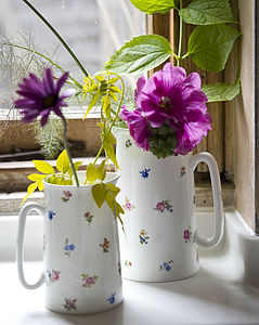 Personalised Ditsy Floral Dot Bone China Jug - vases
