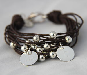 MultiStrand Bracelet With Personalised Disks - bracelets & bangles