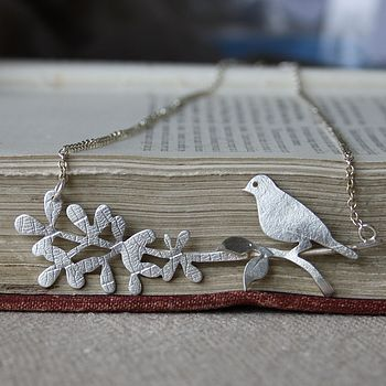 Handmade Silver Bird And Branch Necklace